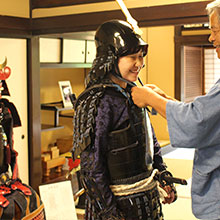 Trying on Japanese armor