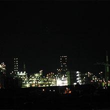 오제가와 강변에서 본 공장 야경