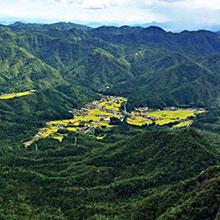 미쿠라다케에서 내려다 본 하트모양의 마을
